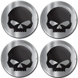 4 x 70mm 3D Gel Silicone Stickers Decals Wheel Center Hub Rims Caps Skull Emblem