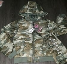 Girls justice packable puffer camo winter coat size 6/7 new