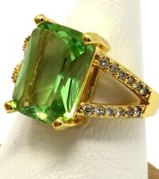 3CT Emerald Cut Peridot Ring Women Wedding Jewelry Gift 14K Yellow Gold Plated