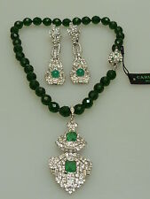 CARLO ZINI  ITALY DESIGNER NECKLACE WITH  EARRINGS GREEN EXCLUSIV SCHMUCK SET