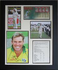 Shane Warne Signed Cricket Ashes Photo & FDC Display Framed AFTAL COA