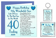 40th Son Happy Birthday Gift Set  - Card, Keyring & Magnet 40 Today Lots Of Love