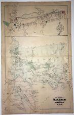 1879 Original Map Wareham Marion Carver Rochester Mass MA Old Narrows Vintage