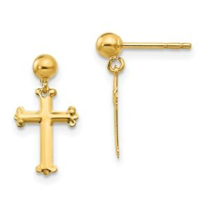 14k Yellow Gold Cross Religious Drop Dangle Chandelier Post Stud Earrings Fine