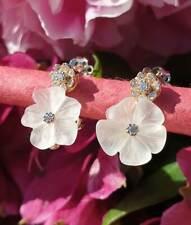 Elegant 14ct Yellow Gold Flower Stud Earrings In Rock Crystal & Diamonds