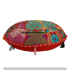 Boho Cotton Seat Cover Boho Round Patchwork Floor Pillows Hippie 16'' Cushion