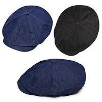 Unisex Mens Womens Denim Casual Bakerboy Flat Cap Newsboy Cabbie Gatsby Hats