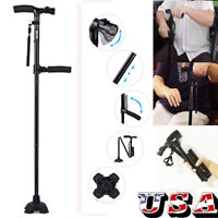 Magic Cane Folding LED Safety Walking Stick 4 Head Pivoting Base Black US