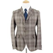 NWT Boglioli Brown White Mohair Silk Plaid Vented Unstructured 3Btn Jacket 40R
