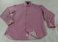 Peter Millar Long Sleeve Button Front Shirt Mens Medium Red Stripe Cotton VGC