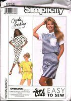 9114 Vintage Simplicity Sewing Pattern Misses Knit Top Pants Skirt Shorts UNCUT
