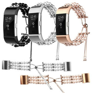 Watch Strap Pearls Bracelet Band Ladies Wristband For Fitbit Charge 2 & Charge 3