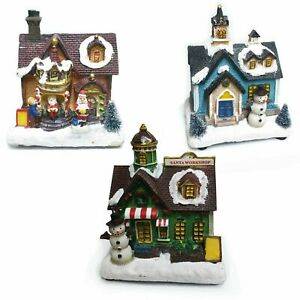 Christmas Light Up Wooden House Pottery Cottage Village Santa Claus Dome Holder