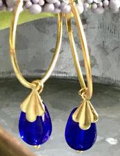 Sapphire Blue and Gold Lever Back Earrings. Laguna Beach Boutique. Ocean.