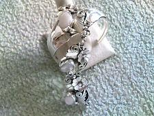 3 Lite Pink Mussel Shell Cabochon Slave Bracelet Sterling  Navajo Made
