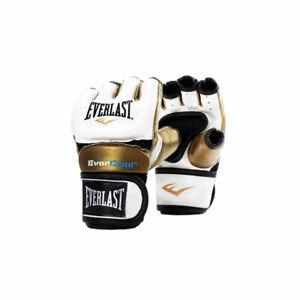 Everlast Everstrike S/M Women's MMA Grappling Training Gloves, White and Gold
