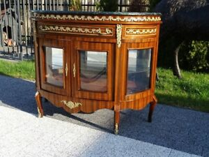 COMMODE - BAROQUE STYLE WOOD / BRASS COMMODE WITH MARBLE TOP #LU28
