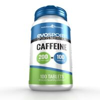 EvoSport Caffeine 200mg Capsules Focus & Stamina High Strength 100 Capsules