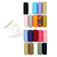 34Pcs Polyester Thread Spools Metal Curved Needles Set for Sewing Craft Tool
