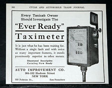 1910 OLD MAGAZINE PRINT AD, EVER READY TAXIMETER, WITHOUT A SINGLE FAULT, CABS!