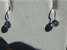 Blue Topaz Round Cut Dangle Earrings 10KT Solid Yellow Gold