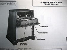 SPARTON 1030 & 1030A PHONOGRAPH - RADIO PHOTOFACT