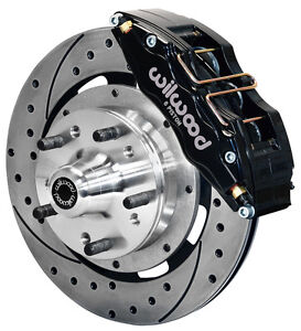 """WILWOOD DISC BRAKE KIT,FRONT,49-54 CHEVY,12"""" DRILLED ROTORS,6 PISTON BK CALIPERS"""