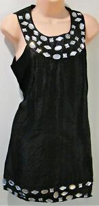"""AX Paris"" Black dress - beaded at neck & hem - sleeveless - mini -lined-Size 14"