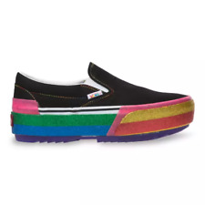NIB*Vans*Glitter Slip On Stacked Platform*Sneaker*Black Rainbow*Womens 6-10