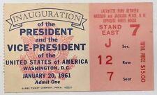 Inauguration Pres. Kennedy VP Johnson Ticket Jan 20,1961 Politic  Memorabilia