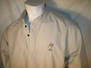 Footjoy Large Beige 1/4 Snaps Poly Packable Golf Jacket Mickey Mouse Disney Logo