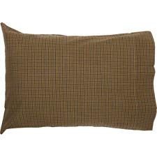 TEA CABIN Green Plaid Pillow Case Set Primitive Log Cabin Rustic VHC Brands