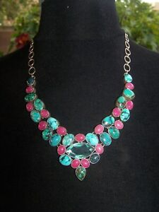 OOAK Beauty! Sterling Turquoise Pink Ruby Topaz Bib Cluster Statement Necklace