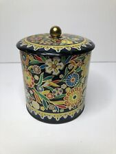 Vintage 1960's Daher Tin Colorful Raised Floral Metal Made In England (See Pics)