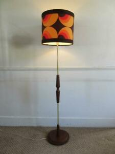 SUPER VINTAGE RETRO 60'S/70'S MID CENTURY TEAK WOOD FLOOR LAMP + RETRO SHADE