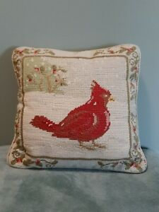 "Vintage finished cross Stitch pillow Bird Cardinal 11"" x 11"""