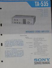 Sony TA-535 hifi amplifier service repair workshop manual (original copy)