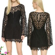 Free People Guinevere Scalloped Black Lace Bell Sleeve Mini Dress $248 Sz 0 NWT
