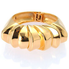 De Buman 18K Yellow Gold Plated Exaggerated Style Party Bangle Bracelet, 7.42''