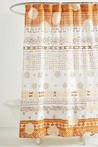 Anthropologie Philomena Shower Curtain 72 x 72 Geometrical Design White & Brown
