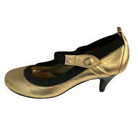 Chinese Laundry Womens Round Toe Mary Jane Pumps Size 7 Gold Metallic Shoes