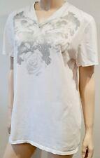 MAISON MARTIN MARGIELA White Cotton Floral Print Short Sleeve T-Shirt Tee Top