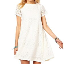 Summer Women Short Sleeve Lace Hollow Out Casual Tops A-line Skirt Dress S-5XL