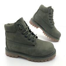 "Timberland Junior 6"" Premium Waterproof Boots Army Green Nubuck - Toddler Size 9"