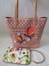 SHARIF PERFORATED COLLAGE BLUSH TOTE AND WRISTLET SET PURSE  - NWT