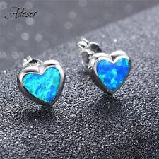 Cute Heart Cut Opal 925 Sterling Silver Ear Stud Earrings for Women Lady Jewelry