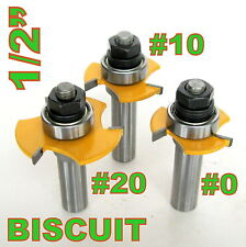 """3pc 1/2"""" SH  Biscuit #20, #10 and #0 Joint Cutter Router Bit Set  sct-888"""