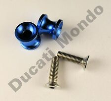 Billet paddock stand spools hook bobbin blue for Ducati 749 999 M8 8mm