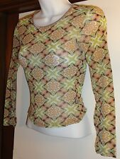 XOXO Small Sheer Fitted Cropped Classic Print Blouse