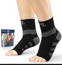 POWERLIX Plantar Fasciitis Support Socks 1 Pair Ankle BLACK Unisex size L LARGE